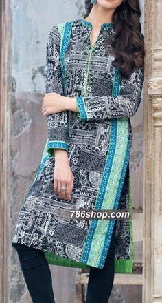 Black/White Cambric Kurti | 786Shop.com | Pakistani Indian Dresses.