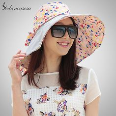 Fashion Design Flower Foldable Brimmed Sun Hat Summer Hats for Women  Outdoor UV Protection Sun Hat WG014191 ac11e4554f09