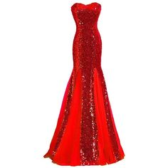 Generic Women's Strapless Mermaid Sequin Evening Gowns Off Shoulder... ($60) ❤ liked on Polyvore featuring dresses, sequin dresses, formal dresses, red dress, red off the shoulder dress and strapless dresses