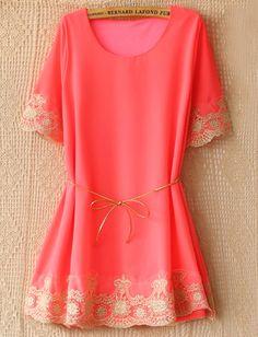 Pink Short Sleeve Lace Embroidery Belt Dress - Sheinside.com