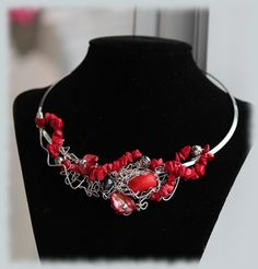 Artsy red semiprecious gemstone necklace with by thoughtsdesigner, $80.00