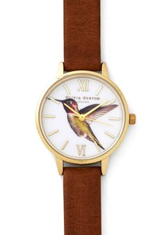 Really Humming Along Watch. You often choose amazing head-to-toe ensembles, but what really makes for an impressive look is when you fasten this leather watch by Olivia Burton around your wrist! #tan #modcloth