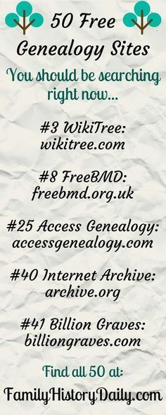 Free Genealogy Sites to Search Today These 50 Free Genealogy Sites Will Take Your Family History Research To The Next Level.These 50 Free Genealogy Sites Will Take Your Family History Research To The Next Level. Free Genealogy Sites, Genealogy Search, Family Genealogy, Free Genealogy Records, Genealogy Forms, Genealogy Chart, Ancestry Websites, Genealogy Humor, Family Tree Research