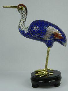 Vintage Cloisonne Copper Enamel Red-Crowned Crane Figurine,Chinese Handicraft