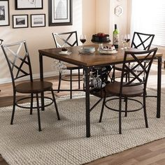 5 Piece Merida Rustic Industrial Dining Set Distressed Ash