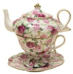 "Summer Rose Chintz Porcelain Tea for One Set 6"" height. Stackable Tea Pot with Lid, Tea Cup and 6.5"" Saucer. White Embossed Porcelain. 24K Gold Trimmed. Dishwasher Safe"