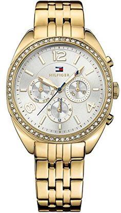 5316b1dd87ecb9 Amazon.com  Tommy Hilfiger 1781573 Gold-Tone Ladies Watch - Silver Dial   Watches