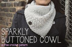 Sparkly Buttoned Cowl     a free crochet pattern by Little Monkeys Crochet