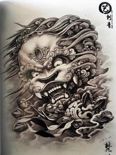 Foo Dog Tattoo Design, Tattoo Designs, Fu Dog, Asian Style, Samurai, Oriental, Unicorn, Skull, Statue