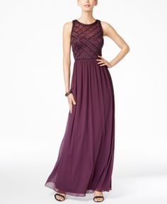 Adrianna Papell Beaded A-Line Gown - Purple 14