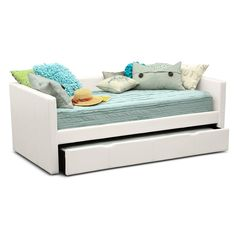 Perfect Match. Mixing sleepover fun with grown-up fashion, the Carey White Full daybed is a match made in heaven for any kid. The pull-out trundle provides sleeping space for optimum convenience, and the low arms and back make for a clean, stylish look. The sleek, white faux leather with designer accent stitching is comfortable and hip at the same time. (Mattresses and accessories are not included.)