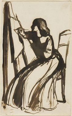 Elizabeth Siddal Seated at an Easel  by Dante Gabriel Rossetti