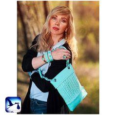 Crossbody bag Mint, handbag, handmade bag, yarn and faux leather bag, cotton lining