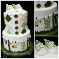 LOVE the top :Argyle pattern top tier & Baby sneakers/booties topper. Baby Shower Cakes, Baby Shower Themes, Baby Cakes, Beautiful Cakes, Amazing Cakes, Cupcakes Decorados, Shower Bebe, Novelty Cakes, Cakes For Boys