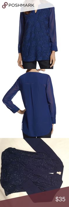 """RELAXED ELEGANCE FAYTH TOP Long-sleeve blouse is effortless and elegant with sequin sparkle covering the front. Inverted back pleat enhances the drape. Semi-sheer silhouette is ideal for layering. Length: 28"""" to 29"""". 100% polyester. Machine wash. Imported. Chico's Tops Blouses"""