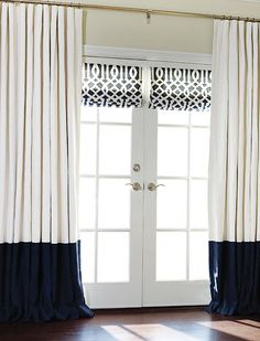 Custom Roman Shade in Schumacher Trellis Navy by DrapeStyle.  #romanshades
