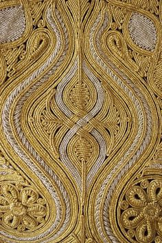 Detail of gold embroidered work on vest Pirpiri, Ottoman, late 19th-early 20th century. Via KSU Museum.