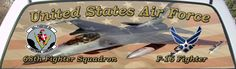 United States Air Force 68th Fighter Squadron Truck Window Graphic Mural.
