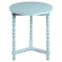 Display a vase of vibrant blooms or an elegant lamp on this wood end table, showcasing a weathered blue finish and bead-inspired base.