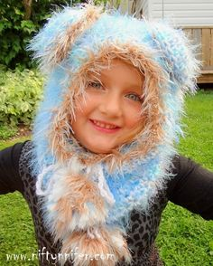 Free Crochet Pattern ~ Beautiful Blue Bear Hood