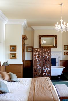 Spacious and resplendent with original plaster work, marble fireplaces and antique furnishings. Kelso Scotland, Luxury Rooms, Marble Fireplaces, Stone Work, House Made, Plaster, Chandelier, Interiors, Antique
