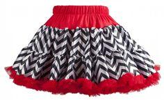 Tutu Couture : CHIC, BLACK/WHITE CHEVRON WITH RED TRIM PETTISKIRT