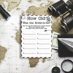 How Old Was the Bride-to-be Travel themed bridal shower game