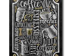 Coffee Sign Kitchen Art Coffee Bar Chalkboard Art by TheWhiteLime Coffee Chalkboard, Blackboard Art, Kitchen Chalkboard, Chalkboard Print, Chalkboard Lettering, Chalkboard Designs, Coffee Menu, Coffee Signs, Coffee Art