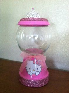Hello Kitty Candy Jar by designzbyvalerie on Etsy Flower Pot Crafts, Clay Pot Crafts, Diy And Crafts, Flower Pots, Homemade Gifts, Diy Gifts, Diy Projects To Try, Craft Projects, Hello Kitty Crafts