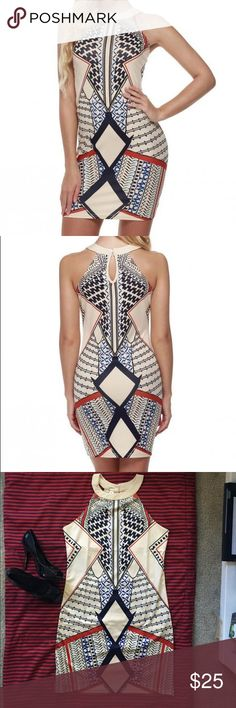Multicolor geometric print slim halter mini dress Multicolor. Geometric print. Slim fit. Halter. For casual. Party. Club. Round collar. Hand wash. The print creats an illusion for stunning curves. Make you more sexy. NWOT. Dresses Mini