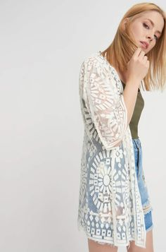 white sheer lace-like summer coat cardigan - polyester