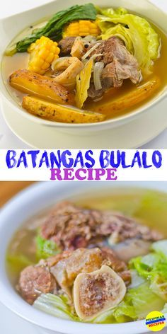 This Bulalo Recipe, also known as beef bone marrow soup, is a native dish originated from Batangas, where you can find many versions of Bulalo. Filipino Dishes, Filipino Recipes, Asian Recipes, Beef Recipes, Soup Recipes, Cooking Recipes, Filipino Food, Pinoy Recipe, Family Recipes