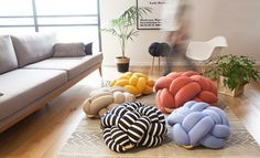 Medium mustard Floor Cushions Knot Floor Pillow by KNOTSstudio
