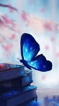 blue butterfly perching on hips of books Blue Wallpaper Iphone, Spring Wallpaper, Cute Wallpaper Backgrounds, Blue Wallpapers, Pretty Wallpapers, Galaxy Wallpaper, Colorful Wallpaper, Cellphone Wallpaper, Disney Wallpaper