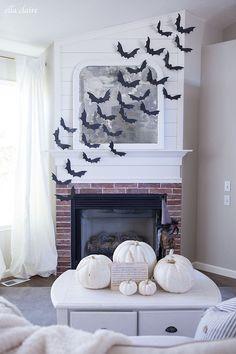 Vintage Halloween Decor, Halloween Tree, DIY Bats on Fireplace