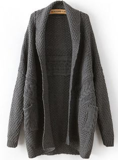 Dark Grey Long Sleeve Cable Knit Pockets Cardigan