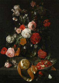 Cornelis Jansz. de Heem A Still Life of Roses, Poppies, Lillies and Other Flowers in a Glass Vase on a Marble Shelf; Beneath a Partly Peeled Orange and Fraises de Bois in a Wan Li Porcelain Dish, Both on a Projecting Marble Ledge