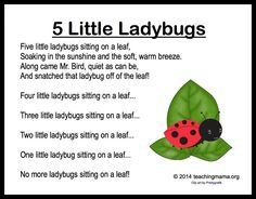 5 Little Ladybugs Song (from Teaching Mama) To wrap up our week on ladybugs, I wanted to share with you a fun ladybug song and fingerplay! My son and I made up this song together, and it is similar to one of his favorite songs