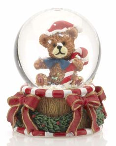 Mini Teddy Bear Snow Globe - Christmas Snow Globes, Personalized Snow ...