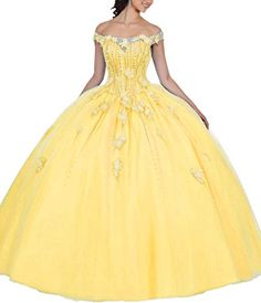 Buy EileenDor Women's Off The Shoulder Appliques Beading Vestidos De 15 Anos Quinceanera Dress Open Back Prom Gown Shawl online - Newtopgoods Sweet 16 Dresses, 15 Dresses, Formal Dresses, Wedding Dresses, Pretty Dresses, Beauty And The Beast Theme, Beauty And Beast Wedding, Glitzy Glam, Formal Dress Shops