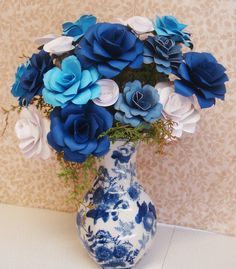 Origami Paper Flower Arrangement Done in blue hues in blue toile vase  anniversary