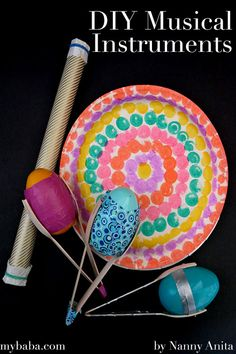 DIY musical instruments - Easy to make from household items. Musical Instruments For Toddlers, Homemade Musical Instruments, Projects For Kids, Diy For Kids, Project Ideas, Infant Activities, Educational Activities, Instrument Craft, Primary Music