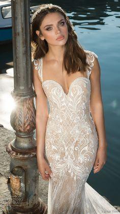 julie vino fall 2017 bridal cap sleeves sweetheart neckline full embellishment elegant fit and flare wedding dress low back chapel train (1210) zv