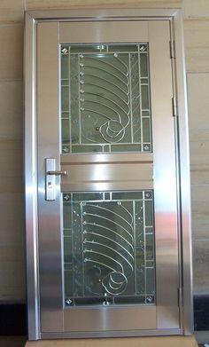 Ideas Single Front Door Entrance Wrought Iron For 2019 Single Door Design, Front Door Design Wood, Front Gate Design, Window Grill Design, Door Gate Design, Main Door Design, Railing Design, Stainless Steel Gate, Steel Gate Design