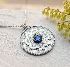 Silver Blue Sapphire Gemstone Necklace with Detailed by EONDesign
