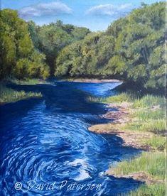 Oil painting, river Lossie near Kellas