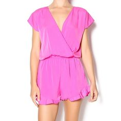 """Fun and Flirty Romper The vibrant pink color along with the ruffle bottom gives this romper a youthful and flirty look. 100% polyester  Fit runs large. Model is wearing size S. Model's height 5'8"""", bust 32"""", waist 25"""", hips 34"""". Honey Punch Dresses"""