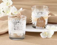 Lace Glass Tealight Holder Set of 4 Votives Candle Vase Tea Lights Wedding Votive Holders Country Chic Rustic Bridal Shower Party Decor by TaaraBazaar on Etsy https://www.etsy.com/ca/listing/270301325/lace-glass-tealight-holder-set-of-4