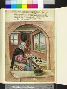 Making wooden inkwells, interesting clamp he has on his workbench. - Amb 279.2 ° folio 45 verso