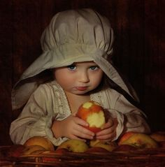 little baby, apples, looking, watching, bonnet, lace, toddler, blue eyes, white/caucasian